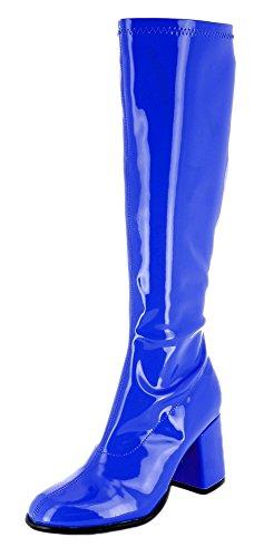 Das Kostümland Gogo Damen Retro Lackstiefel - Royalblau Gr. 39 - Tolle Schuhe zur 70er 80er Jahre Disco Hippie Mottoparty
