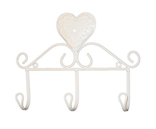 MONTEMAGGI Attaccapanni da parete in ferro bianco anticato con decorazione a cuore e tre ganci. In stile shabby. Dimensioni: 28x5x21 cm Variante unica
