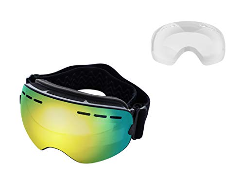 Mira - Ski Goggles With Two Changeable Lenses for all Weather Conditions - Ultra Wide Panoramic Lenses - Anti-Fog, Anti-Wind, UV400 Protection - OTG Wear Over Glasses - Snowboarding Goggles