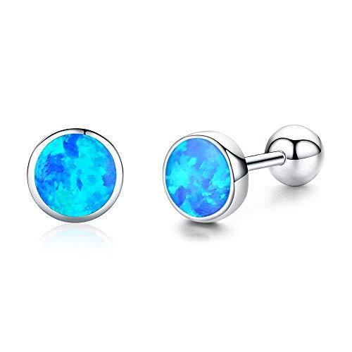 Opal Earrings Sterling Silver Opal Birthstone Earrings Blue/White/Pink Stud Earrings Jewellery for Women girls Best Birthday Gifts
