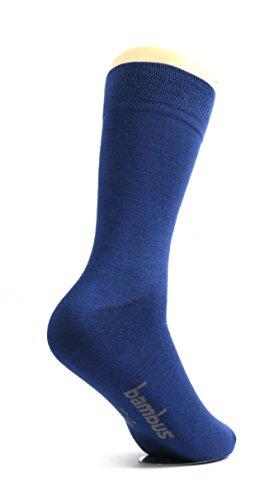 lampox Bambussocken (6 Paar) Atmungsaktiv Socken Business Sport Laufen Reduziert Schweiß (39-42, Navy dunkelblau)