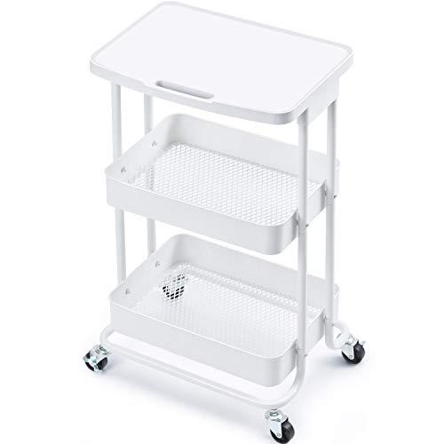 kingrack Rolling Cart,3-Tier Serving Storage Trolley with Table Top,Metal Rack Organizer with Handles Locking Wheels,Standing Shelf Laptop Desk for Kitchen Home Office Craft Garage Salon WKUK130918