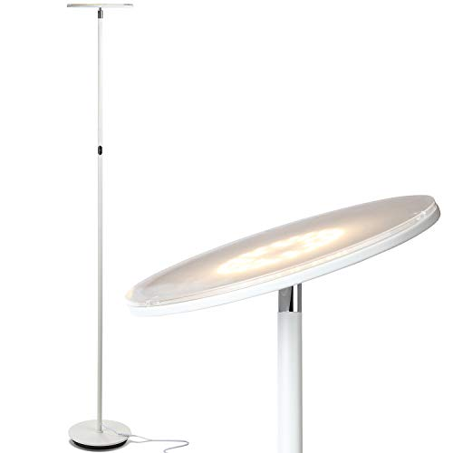 Brightech Sky LED Torchiere Super Bright Floor Lamp - Contemporary, High Lumen Light for Living Rooms and Offices - Dimmable, Indoor Pole Uplight for Bedroom Reading - White