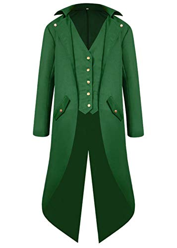 Halloween Costumes Tailcoat for Boys, Kids Steampunk Jacket Gothic Cosplay Long Coat Victorian Tuxedo Uniform (Large, Green)