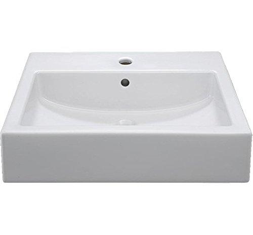 HOMEXPERTS wastafel CERAVID VIENTA opzetwastafel wit/opzetwastafel hoekig/keramische wastafel met kraangat en overloopgat/DIN-aansluitingen/B 60, T 46, H 14 cm