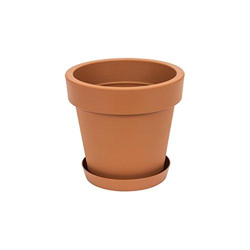 Pot de fleur avec soucoupe Lofly, 16 cm diam, en terre cuite