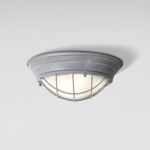 Lightbox Lámpara de techo vintage con cristal mate, diámetro de 34 cm, casquillo E27 para máx. 60 W, lámpara de techo industrial, hormigón gris