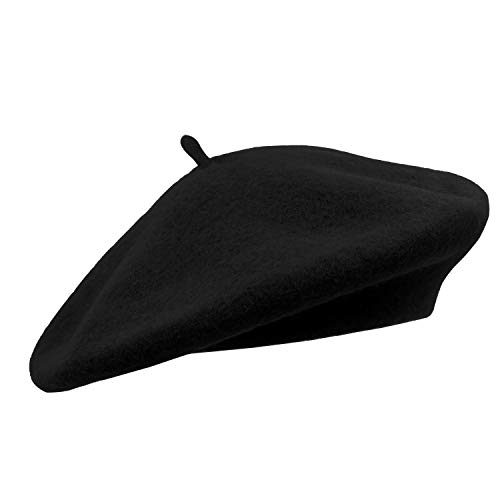 Umeepar Damen Wolle Französischen Baskenmütze (Schwarz)