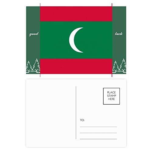 Malediven Nationale Vlag Azië Land Veel Geluk Postkaart Set Kaart Mailing Zijde 20 stks