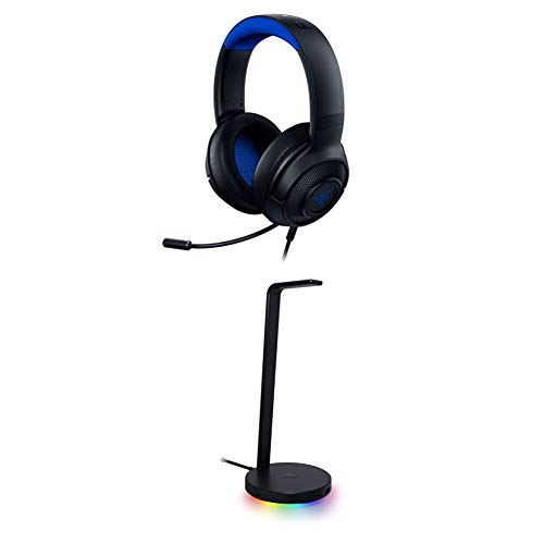 Razer Kraken X Ultralight Gaming Headset: 7.1 Surround Sound - Lightweight Aluminum Frame - for PC, PS4, PS5, Switch, Xbox One, Xbox Series X & S, Mobile - Black/Blue + Base Station V2 Chroma
