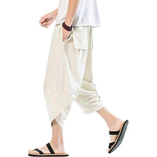 Men's Straight Leg Pants Fashion Solid Color Loose Irregular Streetwear Casual Elasticated Waist Basic Cropped Pants M Beige