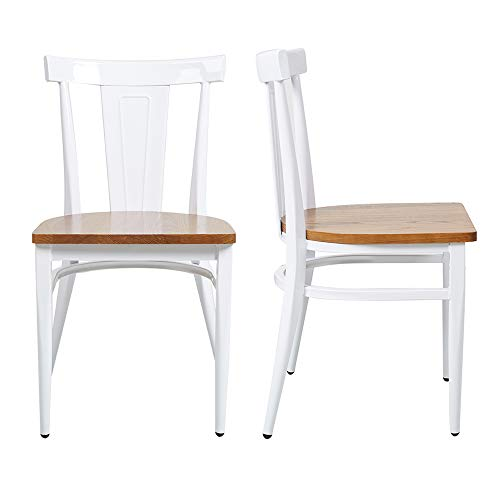 Dining Room Chairs Set of 2 Wood Seat and Metal Leg Heavy Duty Modern Side Chairs for Kitchen Restaurant Cafe, Ergonomic Design,White