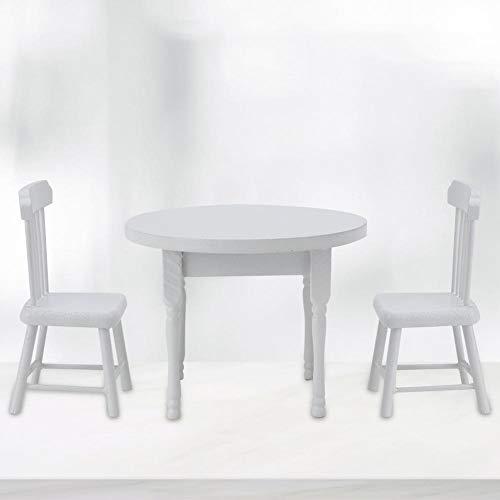 Silla de casa de muñecas, Modelo de casa de muñecas Sillas Muebles en Miniatura Silla en Miniatura, Juego de Muebles de Cocina Muebles de casa de muñecas para(Three-Piece Table and Chair Set)