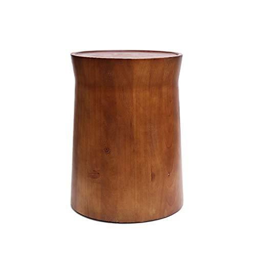LICHUAN Mesa de centro redonda de madera maciza mesas de café contemporáneas geométricas para espacios pequeños, mesa lateral de madera redonda extraíble