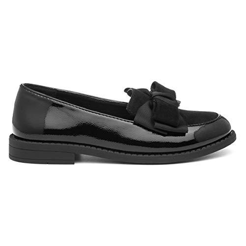 Lilley Girls Black Patent Slip On Loafer - Size 13 Child UK - Black