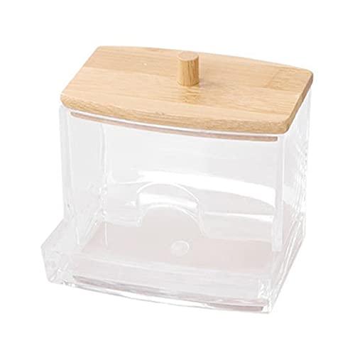 Tampons de maquillage en coton Boîte de rangement pour écouvillons Boîte d'organisateur de cosmétiques avec couverture en bambou Boîte - Boîte d'écouvillon en coton transparent avec Li en bois