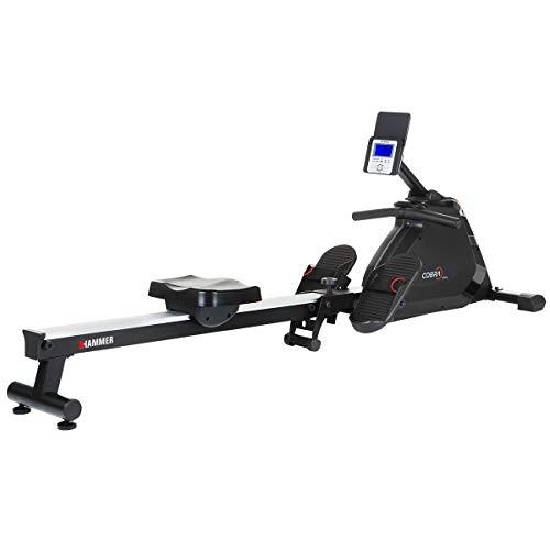 HAMMER Rudergerät Cobra XTR Plus II für zu Hause – Rudermaschine mit innovativem Trainingscomputer, Smartphone-/Tablethalterung, bis 130 kg Nutzergewicht, 232 x 55 x 75 cm, Schwarz, 4532