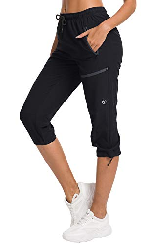 ChinFun Women's Hiking Capris Pants Outdoor Quick Dry Cargo Cropped Pants Water Resistant UPF 50+ Black M