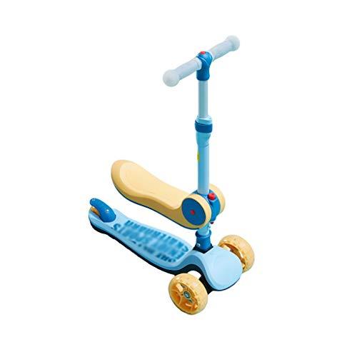Patinete Scooter de Niños Pequeños con Asiento Extraíble Magro para Dirigir el Scooter de 3 Ruedas para Niños para Niños de 1 A 12 Altura Ajustable (Color : Yellow)
