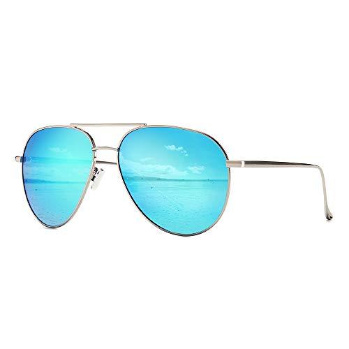 SUNGAIT Übergroße Sonnenbrille für Frauen Polarisierte Pilotenbrille - Verspiegelte Polarisierte Linse (Silberrahmen / Blaue Spiegellinse, 60) -SGT603