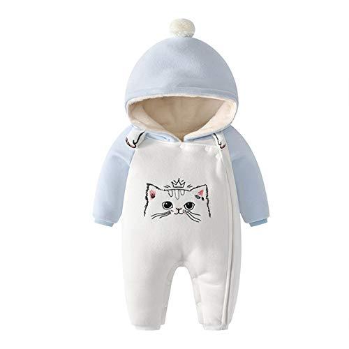WYTbaby Bebé Mameluco Niñas Niños Trajes de Nieve Encapuchado Invierno Monos Espesar Peleles Overoles Calentito Enterizo, 12-18 Meses