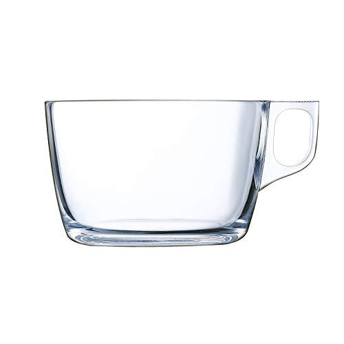 Luminarc Lot de 6 tasses à petit-déjeuner avec anse en verre pour micro-ondes 50 cl Noir
