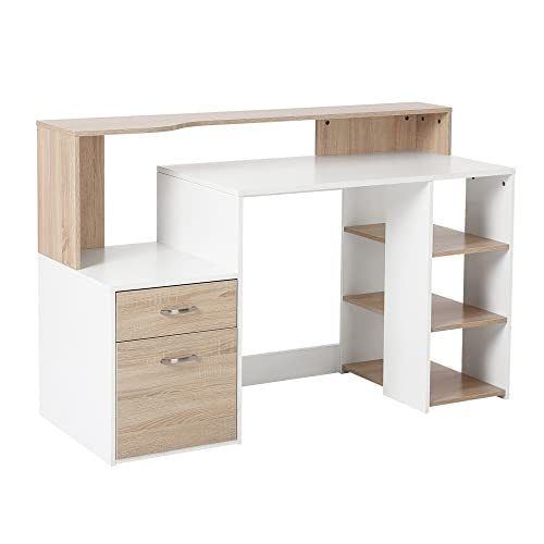 HOMCOM Computer Desk PC Table Modern Home Office Writing Workstation Furniture Printer Shelf Rack w/Storage Drawer & Shelves (Oak and white)