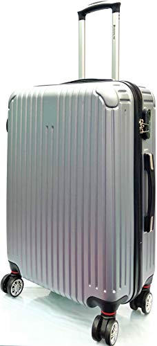 Lightweight Durable ABS Hard Shell 8 Wheels Spinner Hold Luggage Suitcase Travel Trolley Cases in Large(28'), Medium(24'), Cabin Approved Size for Easyjet & BA(21') (24' Medium, Silver 2019)