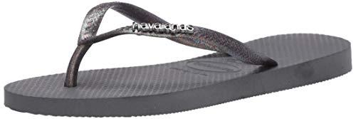 Havaianas Women's Slim Logo Metallic Flip-Flop, Steel Grey/Rainbow Grey Glitter, 7-8