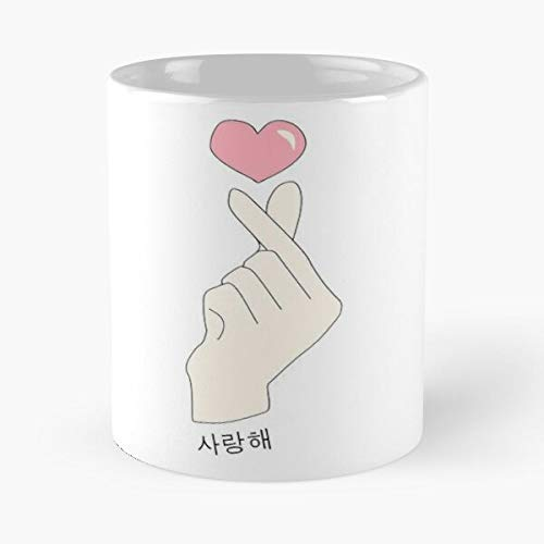 Taza de café Kpop de cerámica, diseño de Corea BTS Finger Corean Middle Hand Heart...