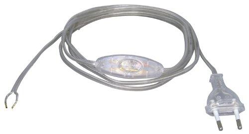 Kopp 140310090 Euro-Zuleitung 2 m, mit Zwischenschalter, transparent