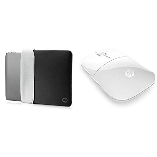 HP 15.6 Inch (39.6 cm) Black & Silver Reversible Neoprene Sleeve & Z3700 White 2.4 GHz USB Slim Wireless Mouse with Blue LED1200 DPI Optical Sensor, Up to 16 Months Battery Life