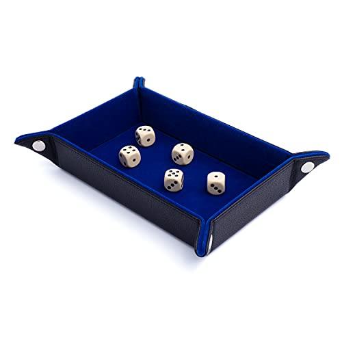 BRETTSPIELGURU Bandeja de cubo plegable de piel sintética con fieltro, bandeja de cubo plegable, bandeja de dados, bandeja de dados, ideal para DND, rodillas y otros juegos, plegable, color azul