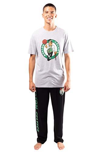 Ultra Game NBA Boston Celtics Mens 2 Piece Super Soft Tee Shirt & Lounge Pants Set, Black, Medium
