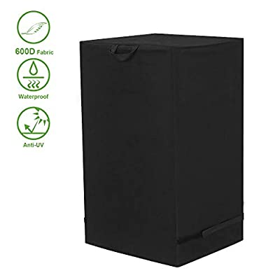 TOUCH-RICH Square Electric Smoker Cover 600D Grill BBQ Outdoor Protector Smoke Hollow Masterbuilt Waterproof UV Fade Resistant 30 in Black