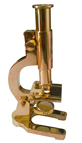 Vintage Style ANTIQUATED Brass 17 cm Display Microscope, Fully Functional 16X Magnification