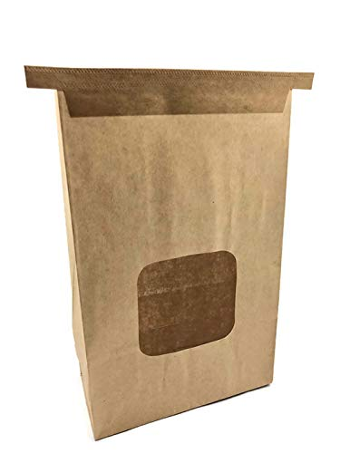 NEWPAK Bakery Kraft Paper Tin Tie Bags with Window Tan or White 6 x 2 3/4 x 9 1/2 250pcs (Tan)