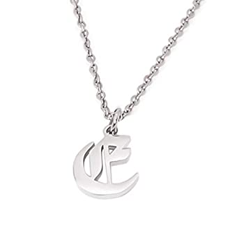 Elefezar Old English Initial Pendant Necklace Letter E Womens Gifts
