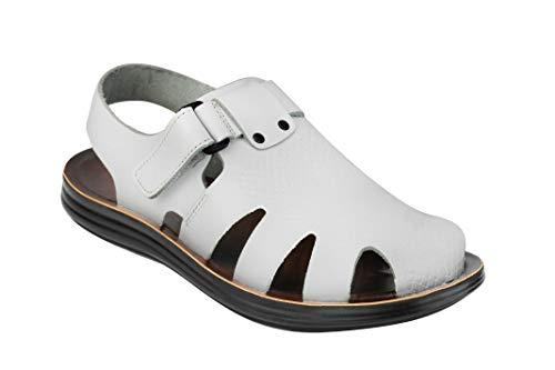 Xposed Herren-Sandalen aus echtem Leder, römischer Gladiator-Stil, Strand, Urlaub, Spazierengehen, Weiß - weiß - Größe: 45 EU