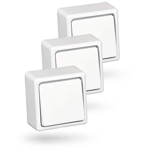 HEITECH Aufputz Wechselschalter in weiß - 3x Schalter für den Innenbereich mit 250V AC & 10A - Lichtschalter für innen, Wippschalter, Kippschalter, Aufputzschalter