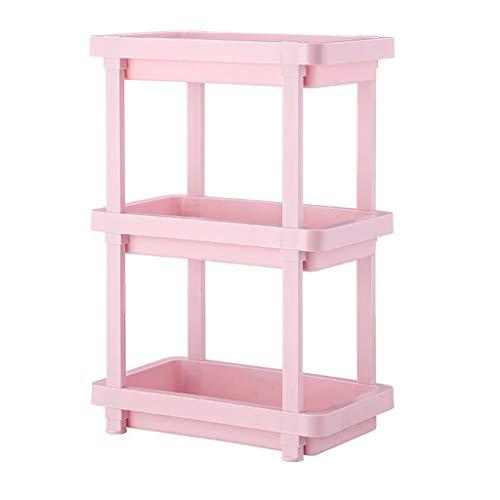 SBLIN Regal, büro becherhalter, Schlafzimmer lagerregal, Bad Regal, küche esszimmer Rack (Color : Pink, Size : 3 Layers)