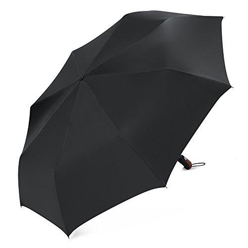 Plemo Compact Travel Umbrella Strong Large Windproof Automatic Open & Close Folding Rain Umbrella, Water-Resistant Satin Fabric, Safety Telescopic Rod