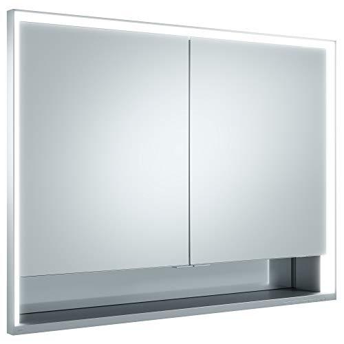 Keuco Spiegel-Schrank Unterputz Einbau, mit Variabler LED-Beleuchtung dimmbar, mit Aluminium-Korpus, mit 2 Türen, 100x73,5x16,5 cm Royal Lumos