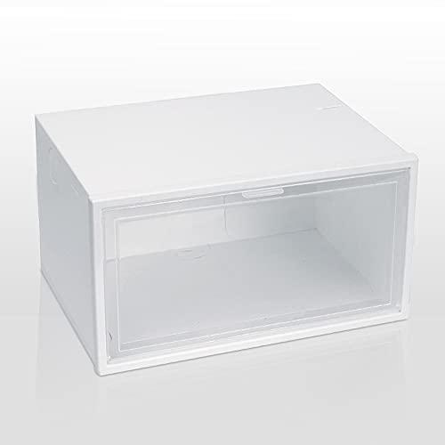 beizi Caja de zapatos plegable apilable de plástico PP con tapa abatible, organizador de zapatos, cajón, caja de almacenamiento con puerta transparente para hombres (color: color blanco)