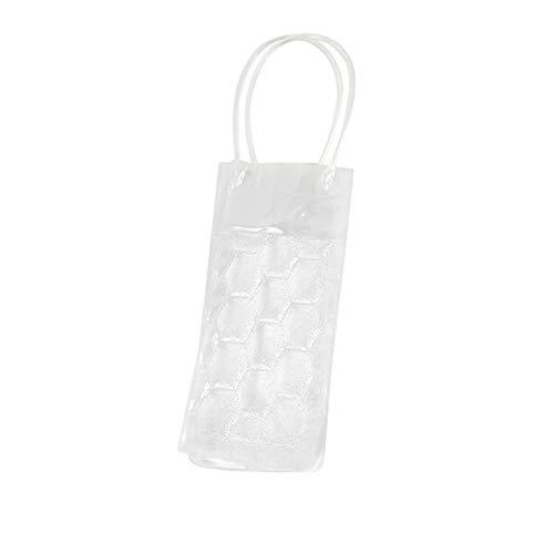 JuneJour PVC Eisbeutel PVC Wine Ice Bag PVC-transparente Weinkühler-Tasche klarer Eisbeutel-Kühlertasche mit Griff für Champagner, kaltes Bier, gekühlte Getränke