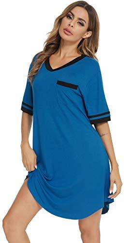 Vlazom Camisones de Mujer Talla Grande de Manga Corta Cuello en V Pijama ,Ropa de Dormir de Camiseta