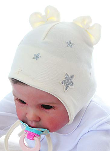 Baby Mütze KU - 38-40 cm. Herbst Creme Mützchen festlich Kopfbedeckung (KU 38cm.)