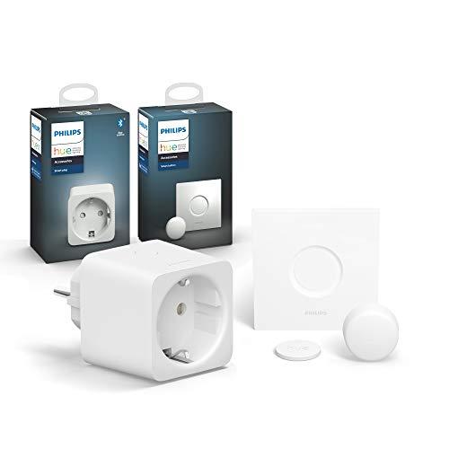 Philips Hue Smart Plug, smarte Steckdose, inkl. Philips Hue Smart Button, komfortables Dimmen ohne Installation, kompatibel mit Amazon Alexa (Echo, Echo Dot)
