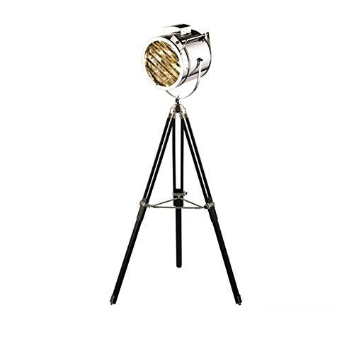 ZCYXQR Lámpara de pie Nordic Gold Silver Estudio de Madera Retro Trípode Escenario Creativo Luz de Suelo Sala de Estar Reflector Lámpara de pie de Acero Inoxidable