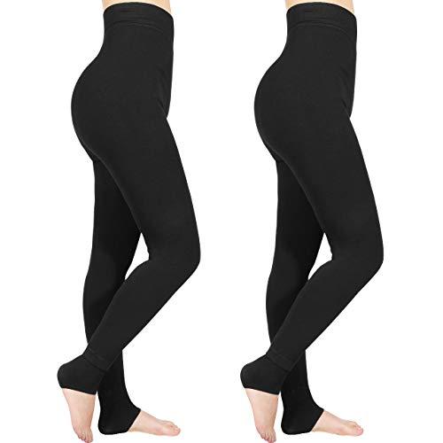 Emooqi High Waist Leggings for Women, Warm Thermal Leggings Tummy Control Super Soft Stretchy Full Length Winter Leggings Pants with Fleece Lining